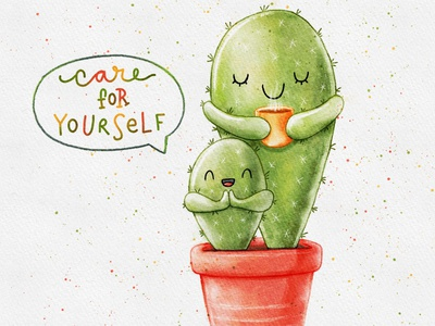 Care for yourself and calm down procreate doodleart watercolor illustration doodle art doodle