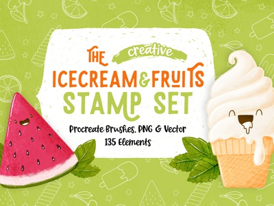 Ice cream & Fruits Procreate Brush stamp set happy summer popsicles brush stamp fruits icecream doodleart procreate doodle art illustration doodle