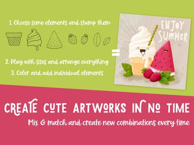 Ice cream & Fruits Procreate Brush stamp set cute fruits happy ice cream summer doodleart procreate doodle art illustration doodle