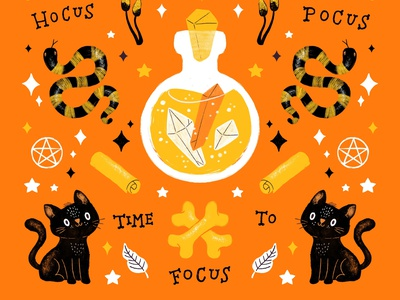 Hocus Pocus - Time to Focus halloween design witchcraft witch halloween doodleart procreate doodle art illustration doodle