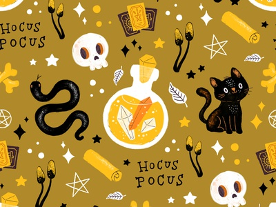 Hocus Pocus Pattern fabric pattern fabric design pattern halloween doodleart procreate doodle art illustration doodle