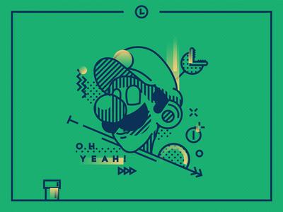 Luigi abstract game mario shirt t-shirt tee sticker illustration