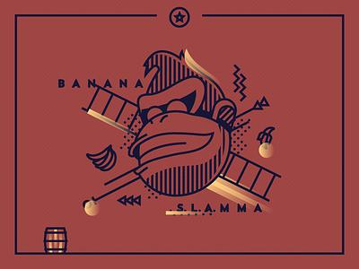 Donkey Kong game gorilla banana barrel illustration vector gradient halftone abstract mario