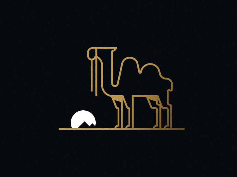 Camel 2.0 dark gold sharp minimal illustration desert camel