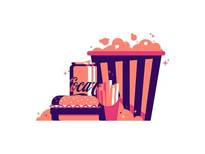 😋😋😋 grid theater movie popcorn fries coca cola coke drinks food burger