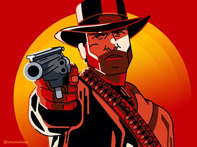 Red Dead Redemption II line illustration line art gun ps4 xbox game