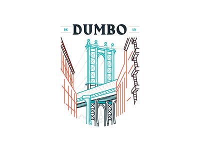 DUMBO Line Art ny illiustration line art logo badge