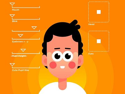 Head rig Joystick n' Sliders BTS 3d vector illustration animation joystick n sliders head rig
