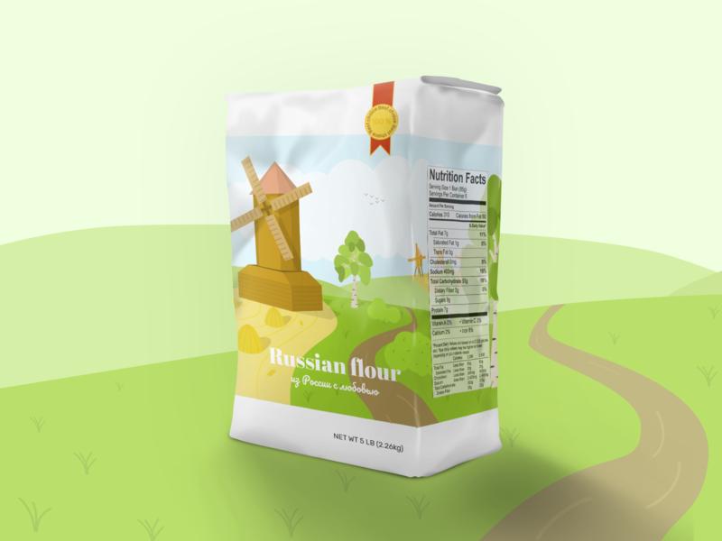 Flour Bag design packaging design package design packaging graphicdesign bag russia green flour grass graphic graphic design typography branding ui vector illustrator illustration flat design