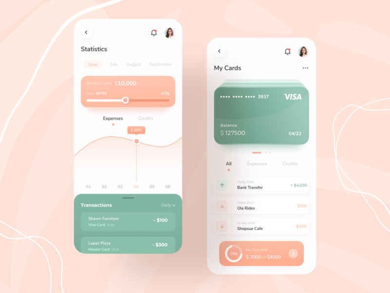 Finance App business cards concept business illustrations typography personal finance mobile apps mobile app mobile ui mobile banking banking app finance app cards ui ui minimal design app