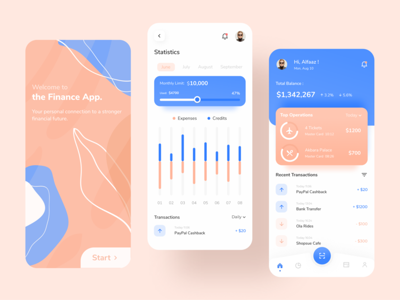 Finance App UI Design stats dashboad banking app finance finance app ui minimal design app