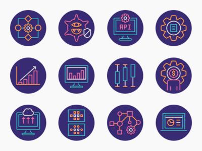 Data Analytics Icons icons iconography app icon set ux ui icon illustration flat design
