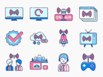 Live Streaming Icons illustrator icons iconography icon set ux ui icon illustration flat design