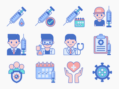 Vaccines and Vaccination Icons icons iconography app icon set ux ui icon illustration flat design