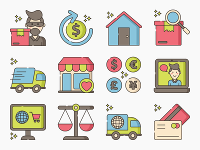 Web Store Icons icons iconography app icon set ux ui icon illustration flat design