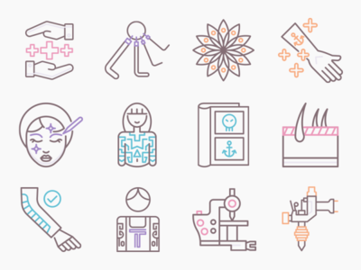 Tattoo Icons illustrator icons vector tattoo art tattoo icon set ux icon ui illustration flat design
