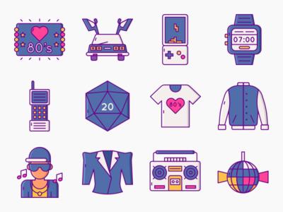 Eighties 80s Nostalgia Icons icons vector back to the future delorean 80s icon set ux icon ui illustration flat design
