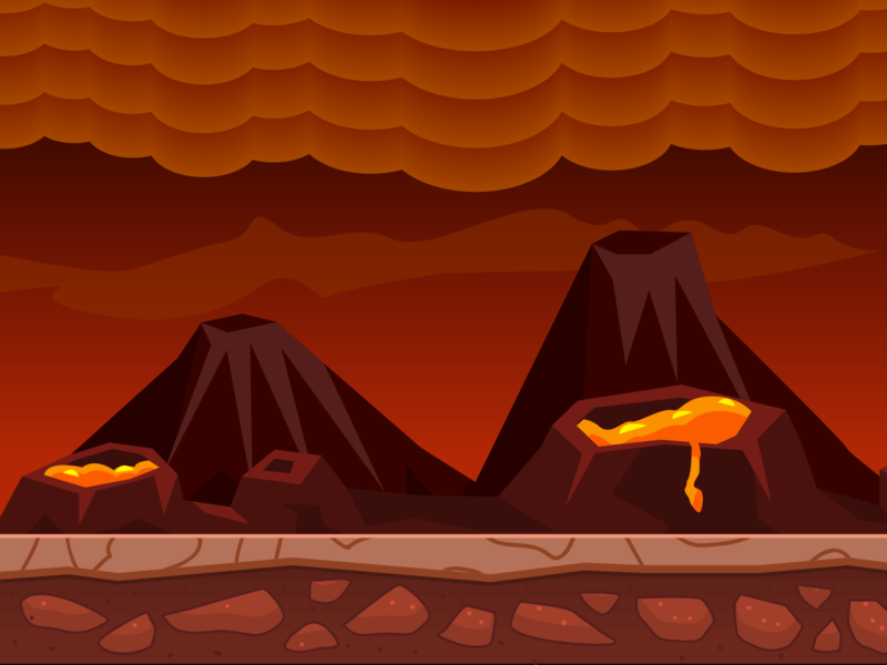 Volcano - Game Background simple deisgn game hot dust red volcano smoke fire vector illustration flat design