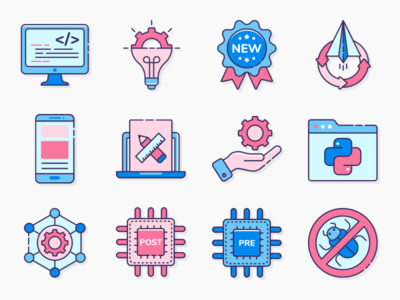 Computer Programming Icon Set data software design program flat code vector illustration app website network programming symbol internet development icon coding web computer technology