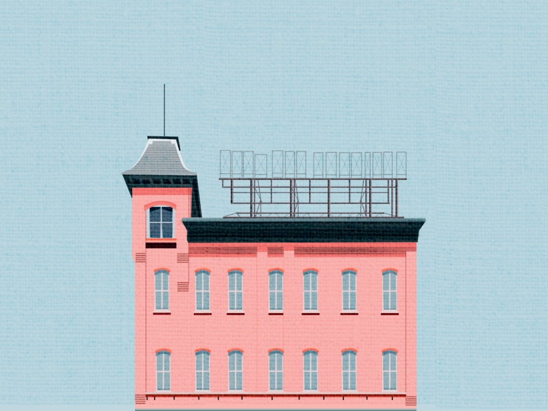 Pink building background sky building ps design