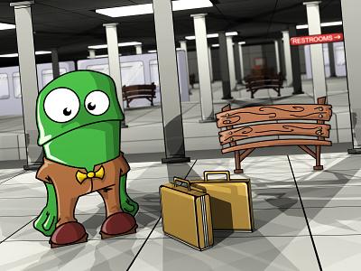 Homeward Bound clean character subway america frog cute fun illustrator cartoon vector colorful 3d art digital illustration digital art illustration