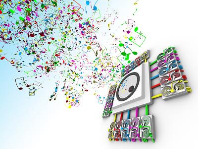Remember When I Used To Play speaker dj turntable noise notes music 3dsmax design fun colorful 3d art digital illustration digital art illustration