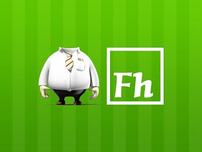 Fictionalhead Logo Redesign branding logo 3dsmax design illustrator cartoon 3d digital illustration digital art illustration