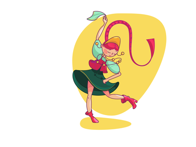 Dynamic hero pose girl dancing dance character cartoon illustration