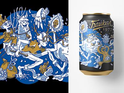 "Concept for the drink ""Baikal"" vector illustration character shaman lama monk baikal drink photoshop concept"