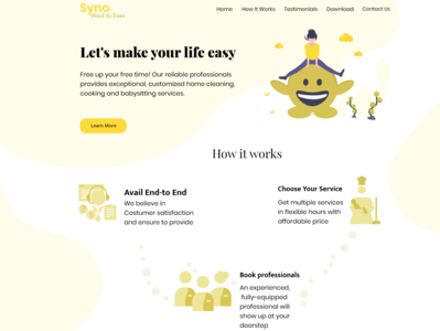 Syno- Maid At Ease household service maid landingpage website concept features