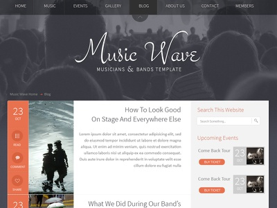 Music Wave - Musicians & Bands Template music clean responsive