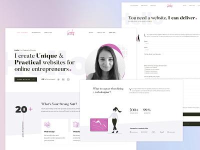 Gabythedesigner.com Portfolio Website [still in work] portfolio clean elementor business design purple feminine