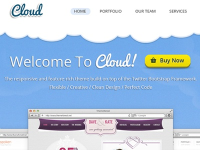 Cloud clean colored one page blue