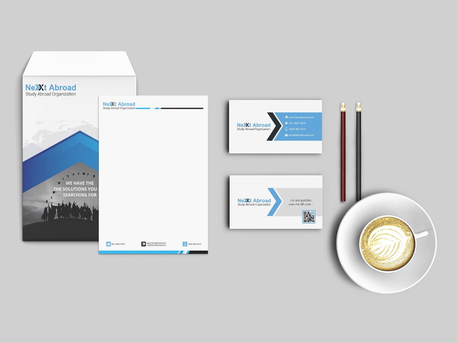 Nextabroad mockup identity design idenity brand design brand print office x next education abroad letterhead envelope visit card