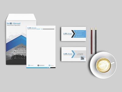 Nextabroad mockup identity design idenity brand design brand print office x next education abroad letterhead envelope visit card