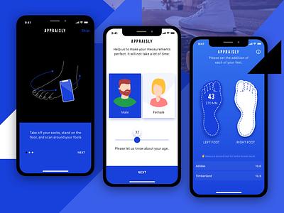 Appraisly – AR measurement app ml app design ux ui mobile minimal measurement ios design brand onboarding ar app
