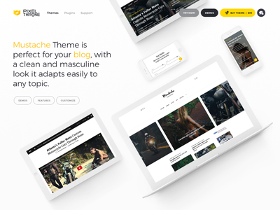 PixelThrone Theme Page — Header wordpress blog magazine theme pixelthrone clean simple website site blogger envato themeforest
