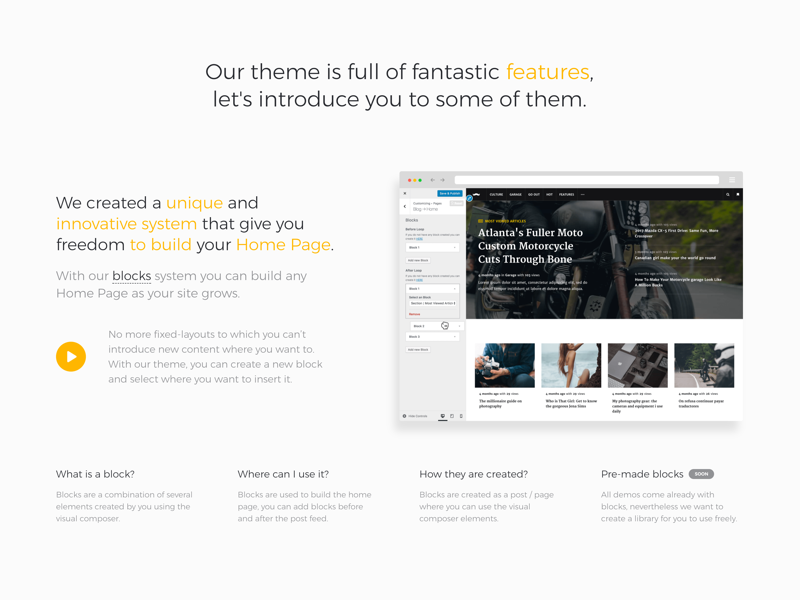Homepage Builder — Section wordpress blog magazine theme pixelthrone clean simple website site blogger envato themeforest