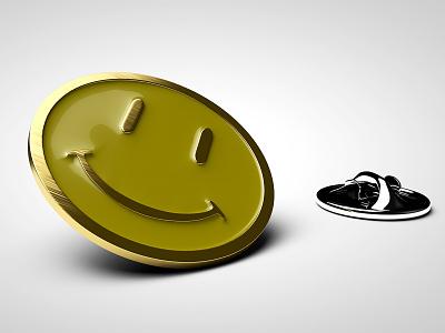 Enamel Smiley Pin meniscus enamel props design 3d modeling 3d artist 3d art