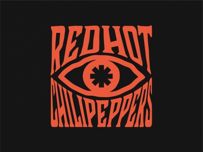 Red Hot Chili Peppers Eye typography logo minimal icon vector design