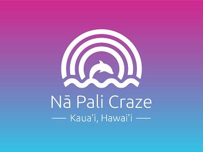Nā Pali Craze Logo vector tourism gradient rainbow hawaii dolphin branding minimal icon design logotype logo