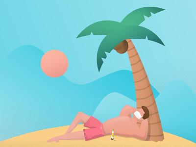 Self Isolation texture sand corona island covid-19 coronavirus palmtree illustration vector