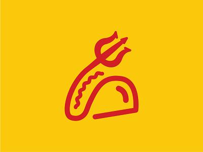Little Devil's Lunchbox Logo logo design pitchfork devil tacos branding icon logo design vector