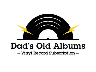 Logo for my dad's record collection music grunge texture vector lightning bolt records vinyl minimal logo design