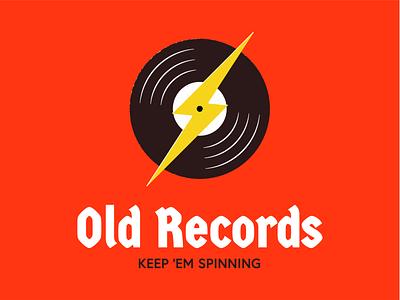 Old Records, keep 'em spinning lightning logo vinyl record icon minimal music lightning bolt lightning vinyl records branding vector logo design