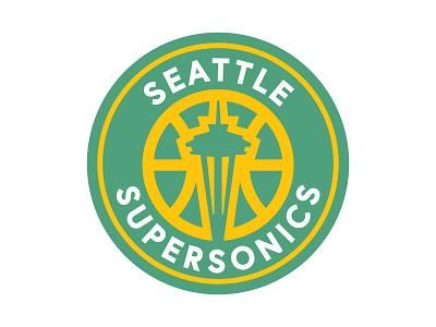 Seattle Supersonics Logo Proposal branding minimal logo icon design vector net spaceneedle seattle sports seattle supersonics seattle sonics basketball supersonics sonics