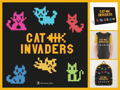 Cat Invaders tshirt art 8-bit square illustration artwork invasion character design character kitten yellow society6 redbubble space invaders retro gaming retro game retro design cats pixelated pixelart characterdesign