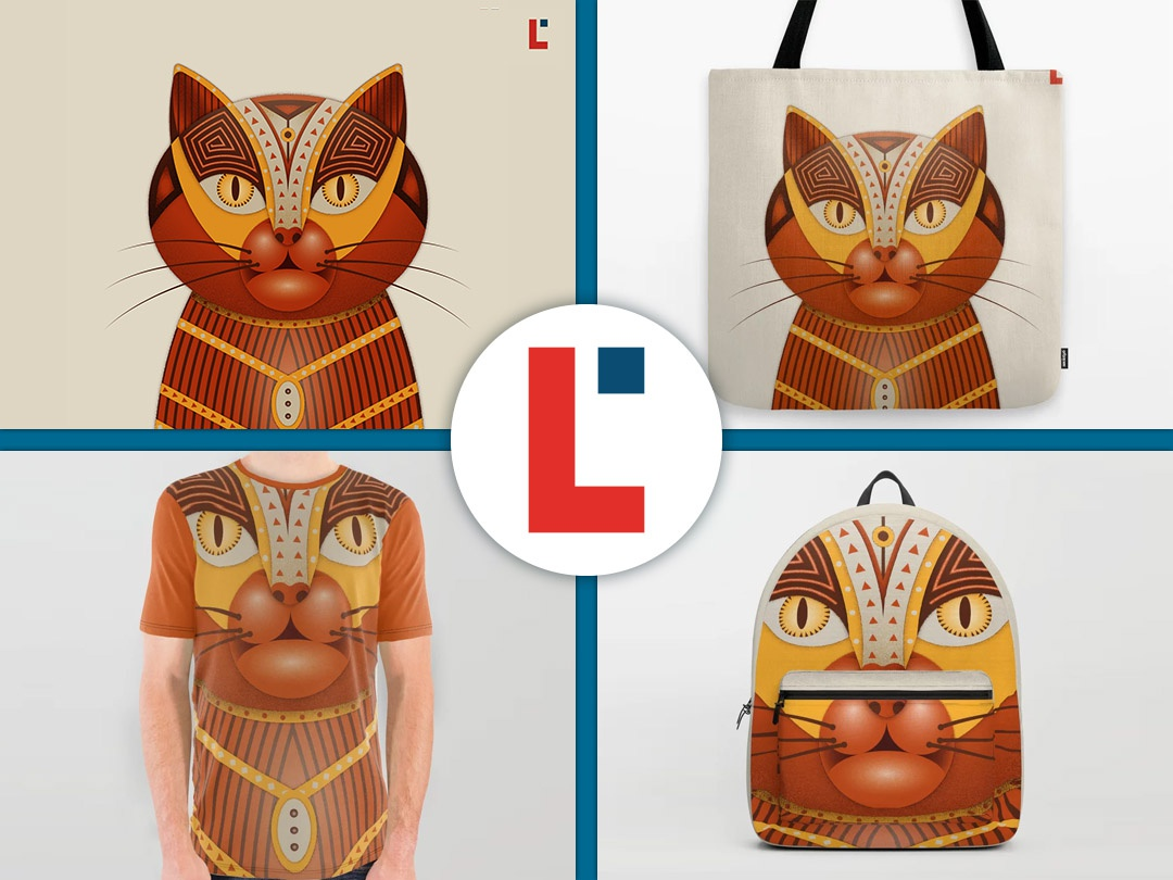 The geocat pet feline fur surface design child orange mascot mascotte funny character poster geometric garfield doodleart doodle illustration kitten cat