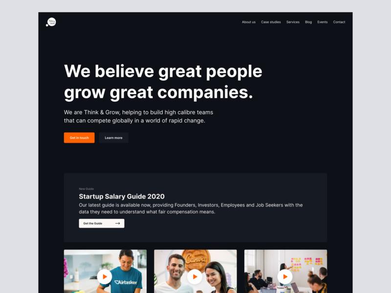 Think & Grow website redesign – Homepage homepage dark mode desktop website web minimal clean simple ux ui