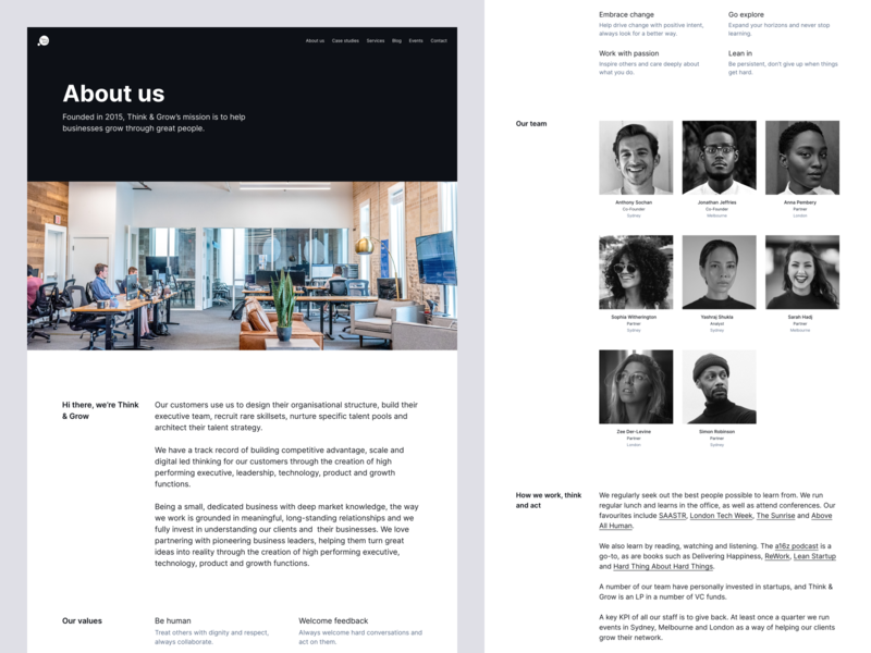 Think & Grow website redesign – About page about page desktop website web minimal clean simple ux ui